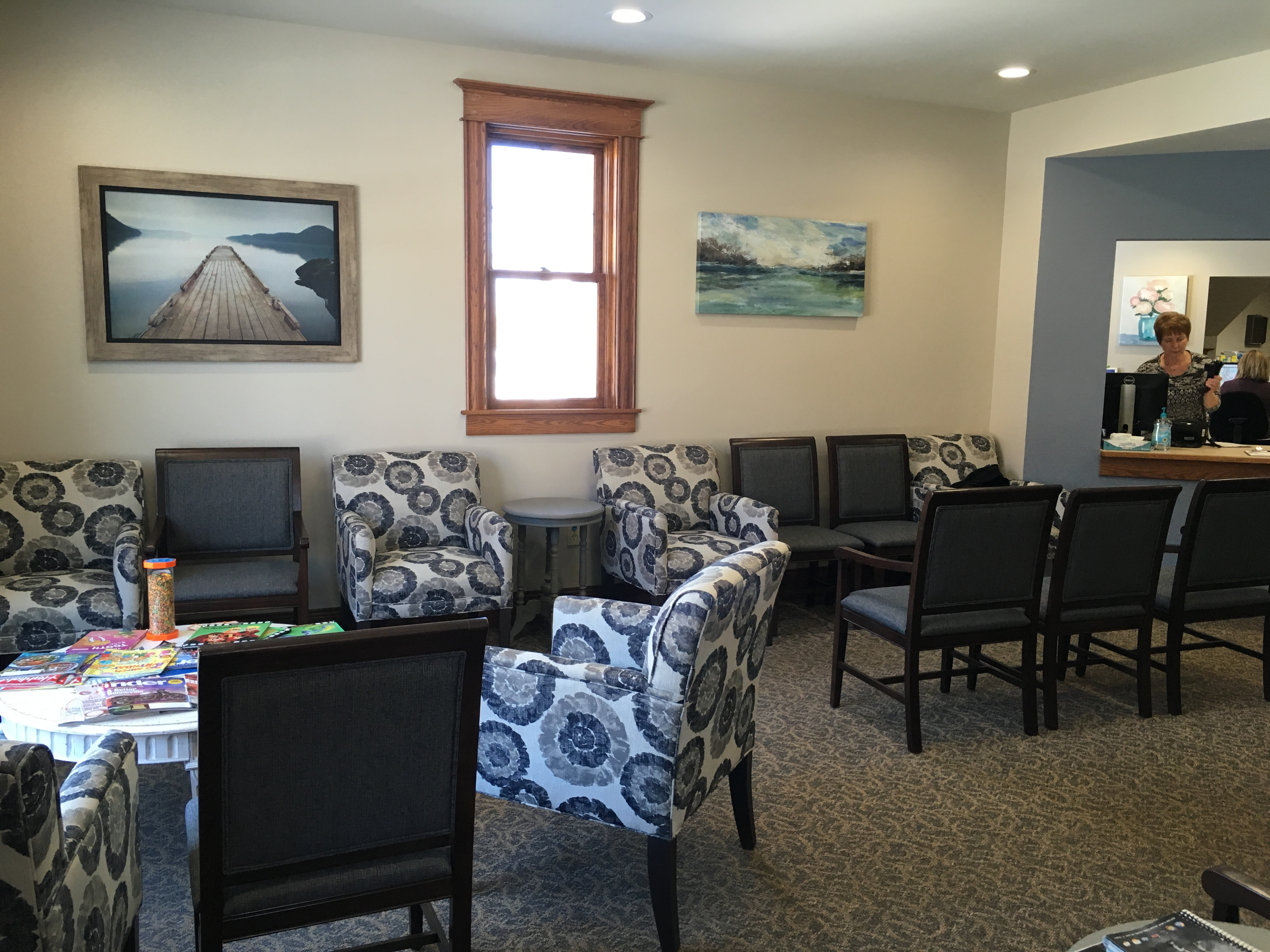 Our waiting room features more seating for patients, a drinking fountain and a new bathroom. Special thanks to Gray's Furniture of Mt. Pleasant and DBI in Lansing for the new furniture.