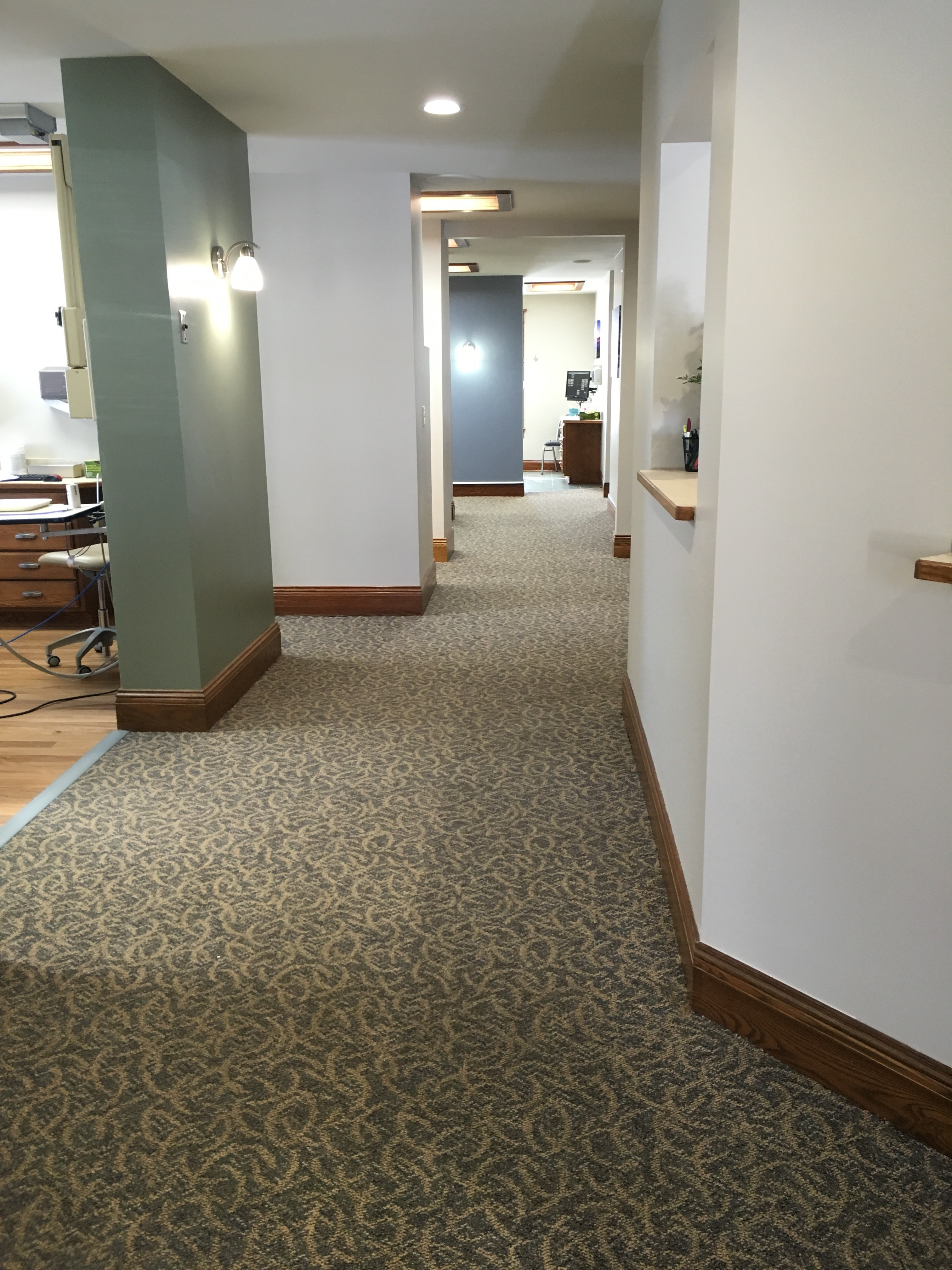 Hallways were expanded for ease of flow. Barbers Floors and More provided new flooring for our operatory rooms as well as carpeted areas.